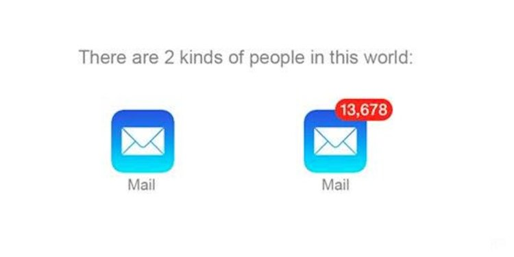 There are 2 kinds of people in this world: people with 0 new mail, and people with 13,678 unread emails.