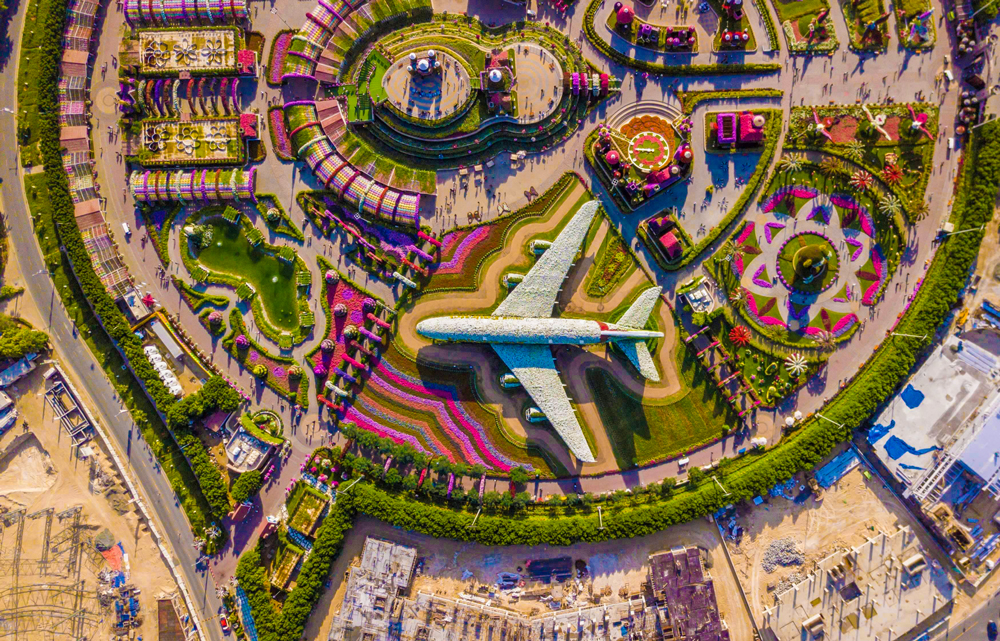 aerial photo of a park with an airplane