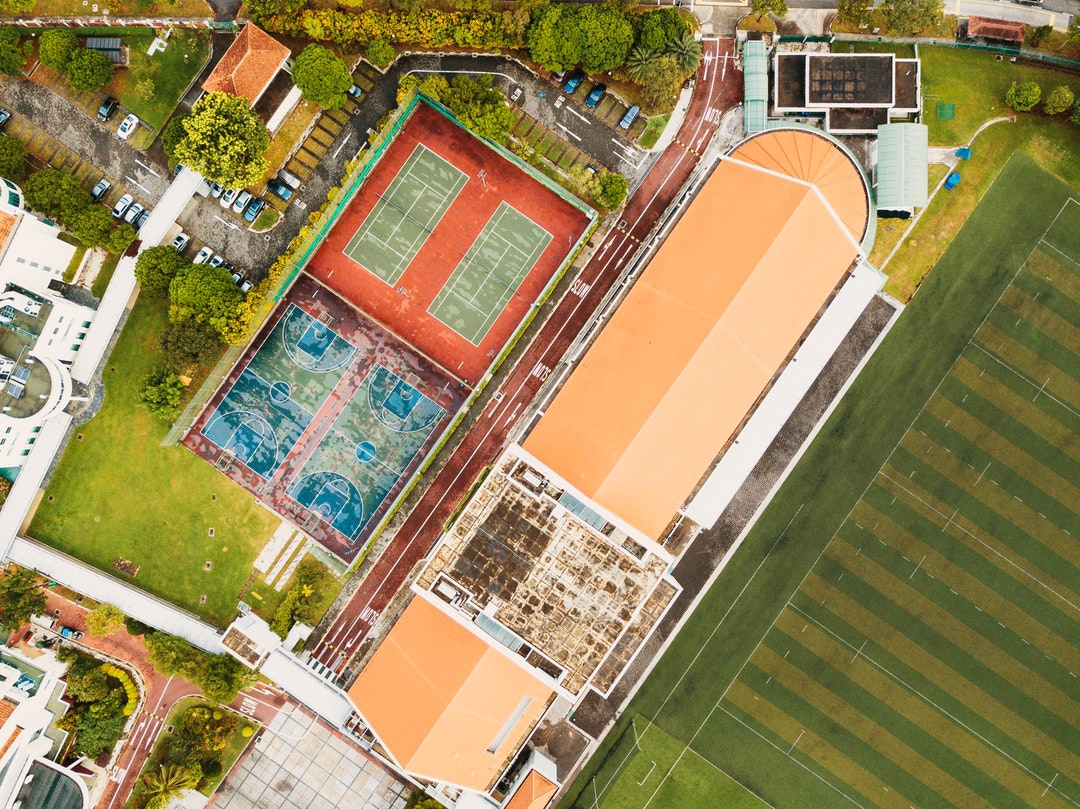 top view shot of a school campus