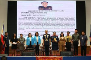 Helen Galvez at the 2018 Search for the Outstanding Policewomen in the Philippines