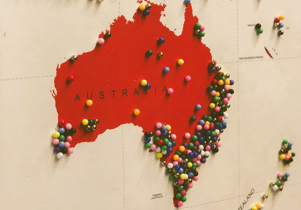 Map of Australia with pins on its major cities