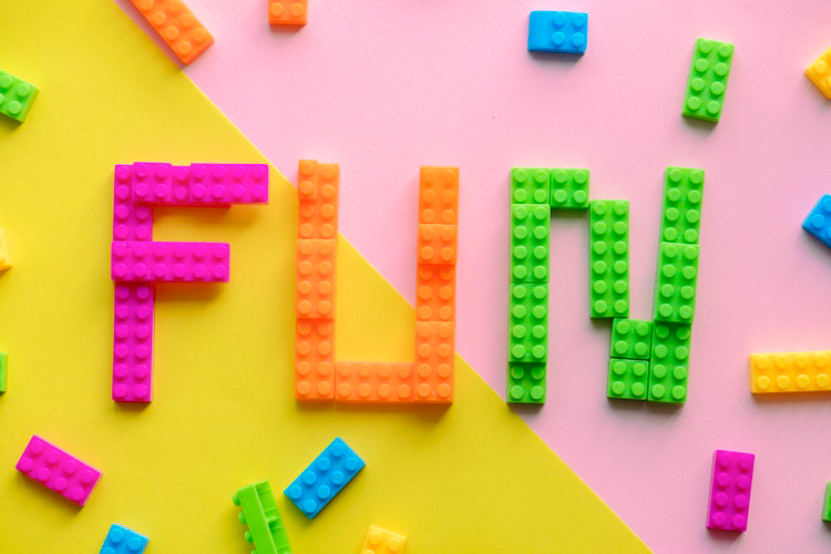 lego blocks spelling the word fun