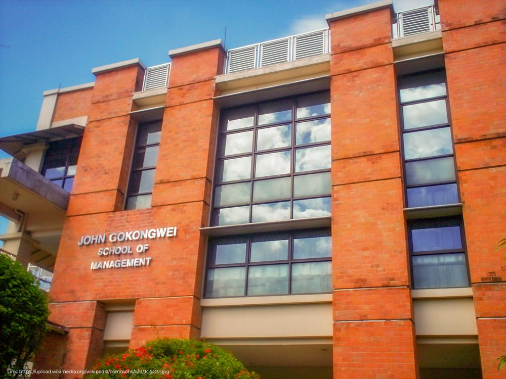 Façade of the JGSOM building in the Ateneo de Manila University college campus
