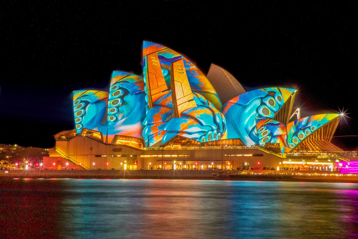 Nighttime view of the Sydney Opera House light show in Australia