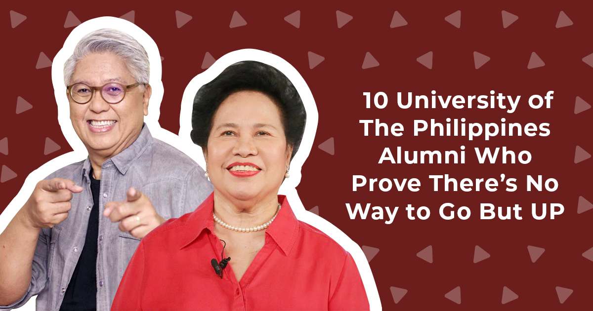UP alumni photo collage showing Miriam Defensor Santiago and Ryan Cayabyab