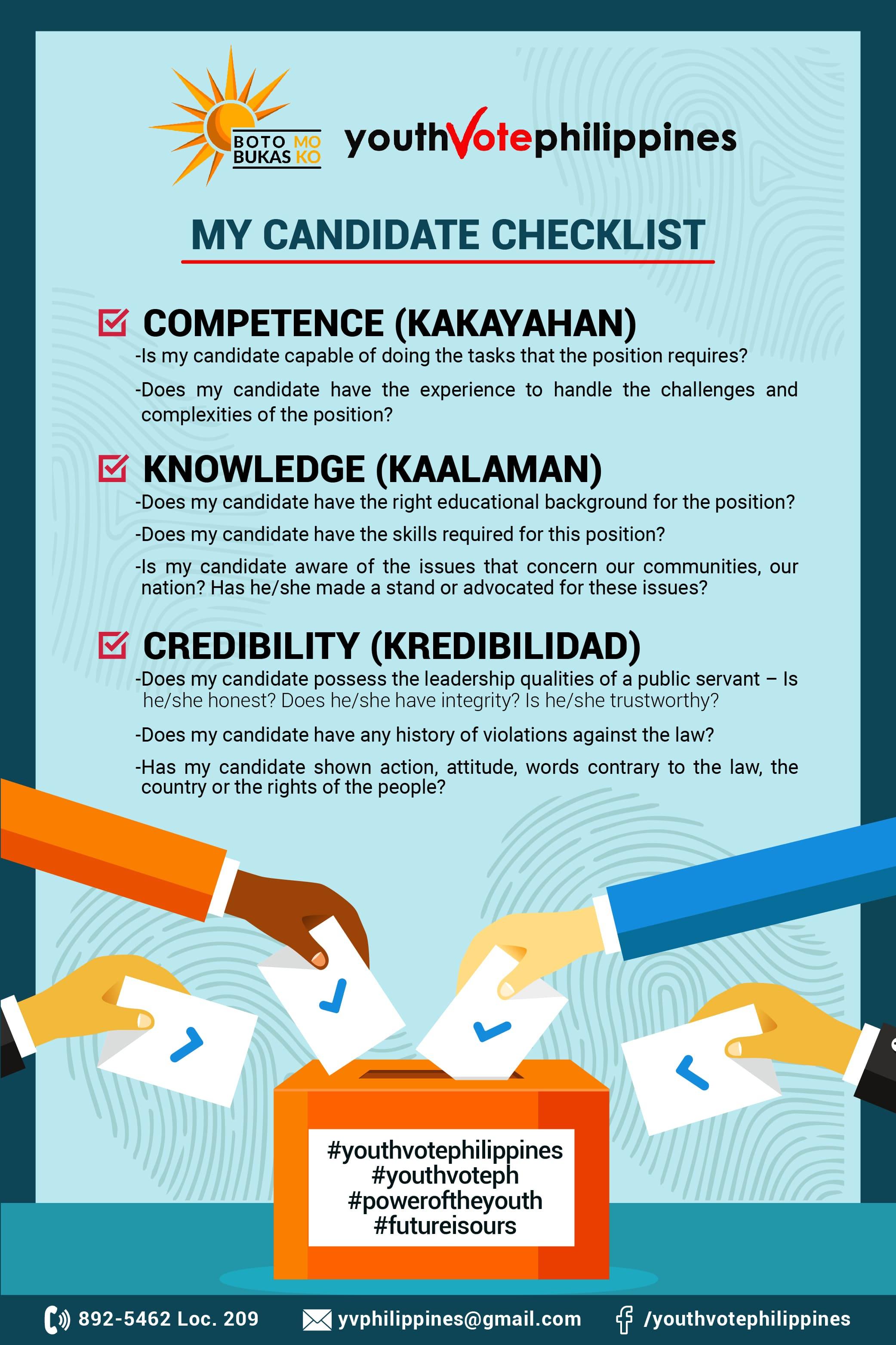 My Candidate Checklist: Competent (Kakayahan). Knowledge (Kaalaman). Credibility (Kredibilidad).