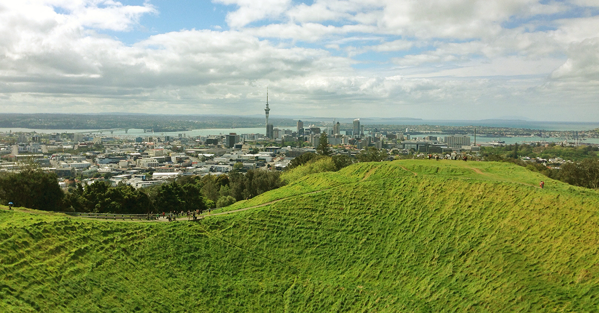 bird's eye view of mountain and city in new zealand