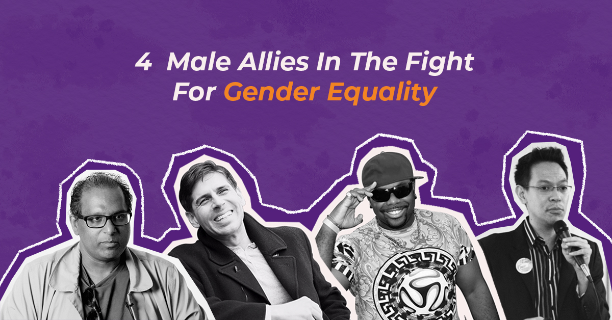 photo collage of male allies for gender equality