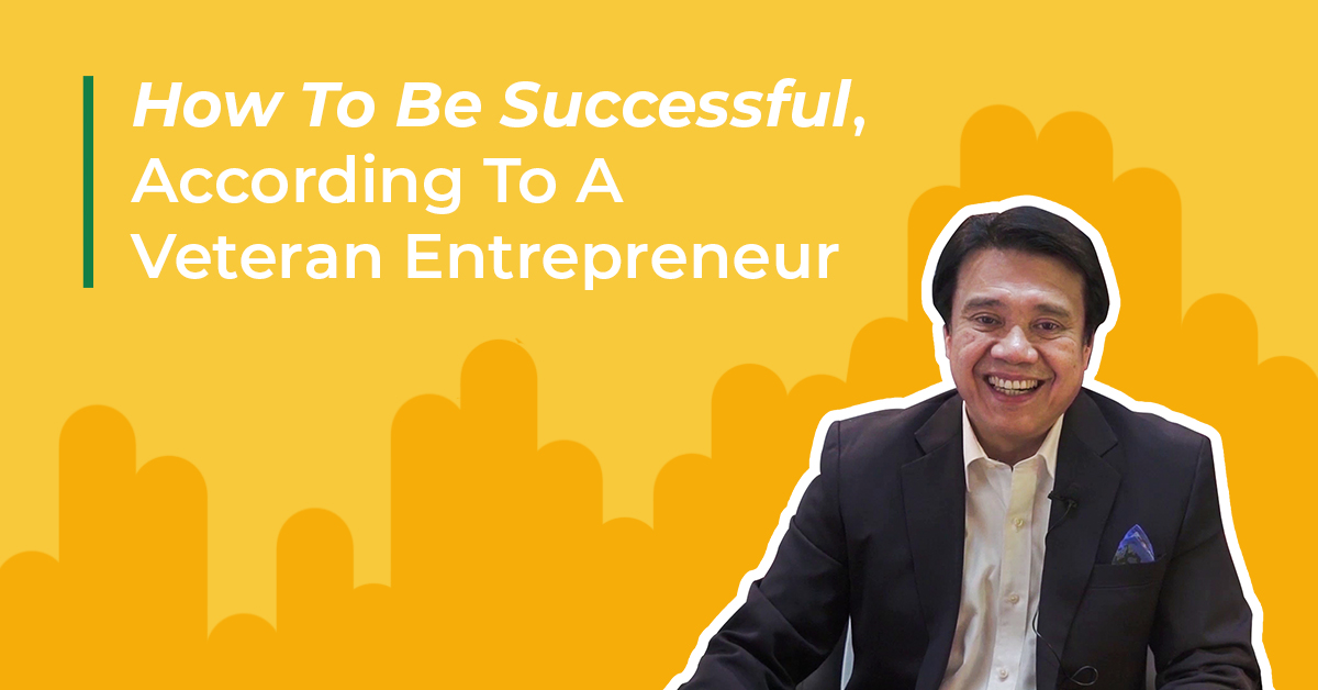 "collage of smiling businessman with text, ""how to be successful, according to a veteran entrepreneur"""