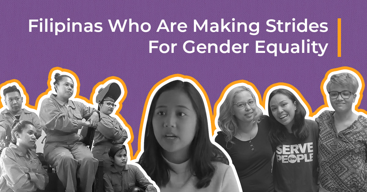 gender equality collage showing TESDA women, Chiara Ledesma, and Kelsey Hadjirul with her mothers