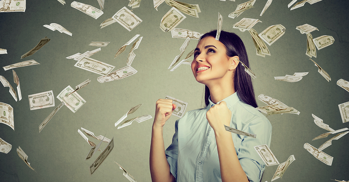 woman celebrating all the money she's earning