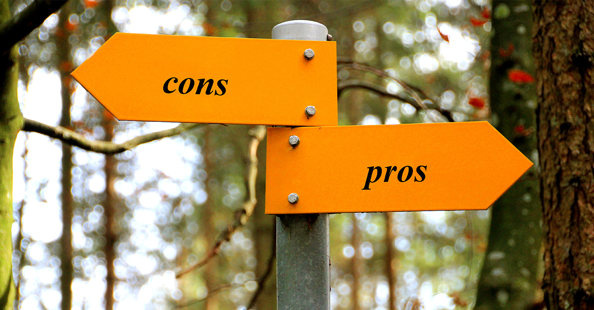 directional signage that say pros and cons