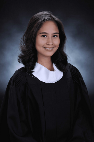 graduation photo of Filipina scholar from Pamantasan ng Lungsod ng Maynila