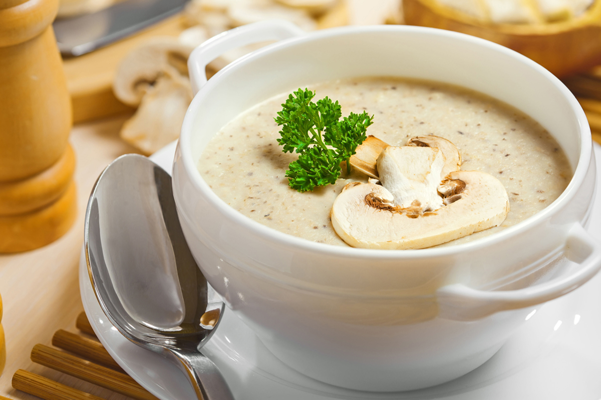 delicious bowl of hot mushroom soup