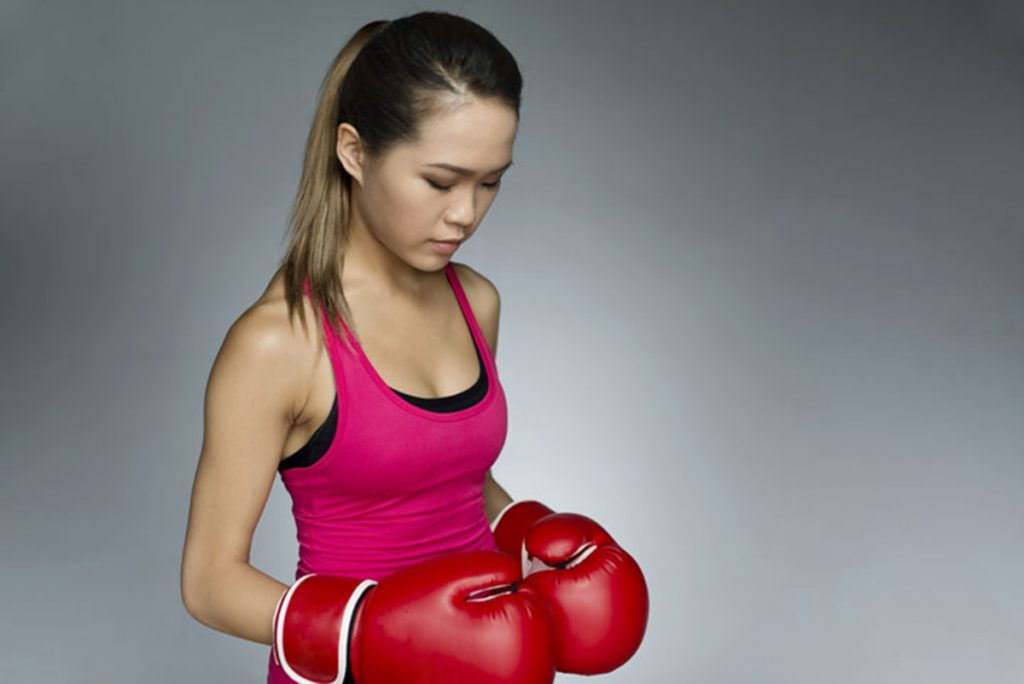 girl boxing gloves self defense