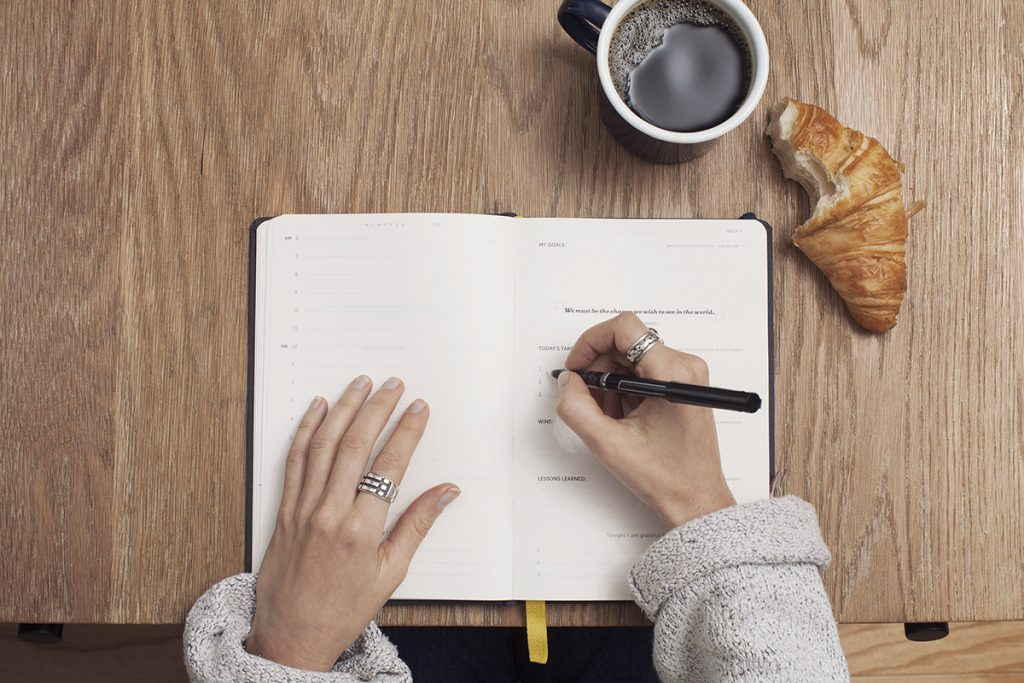 event planner notebook writing