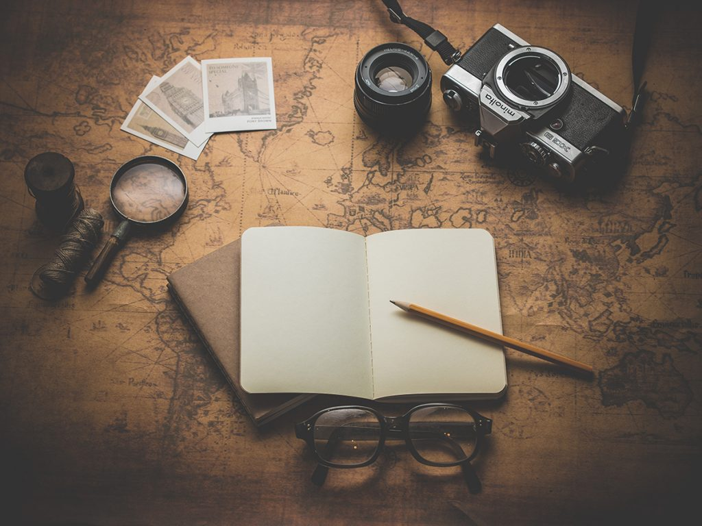 camera, book, map, travel