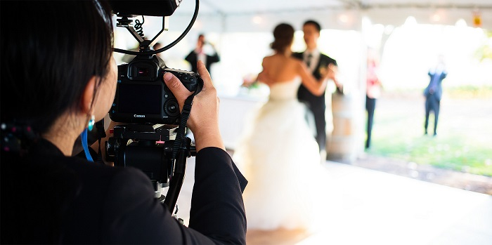 wedding videographer documents bride and groom