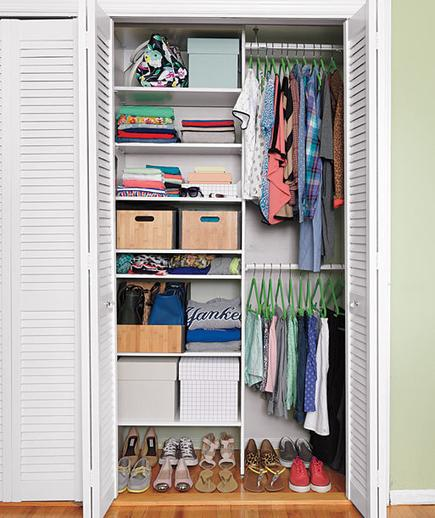 clutter-free closet by using space savers