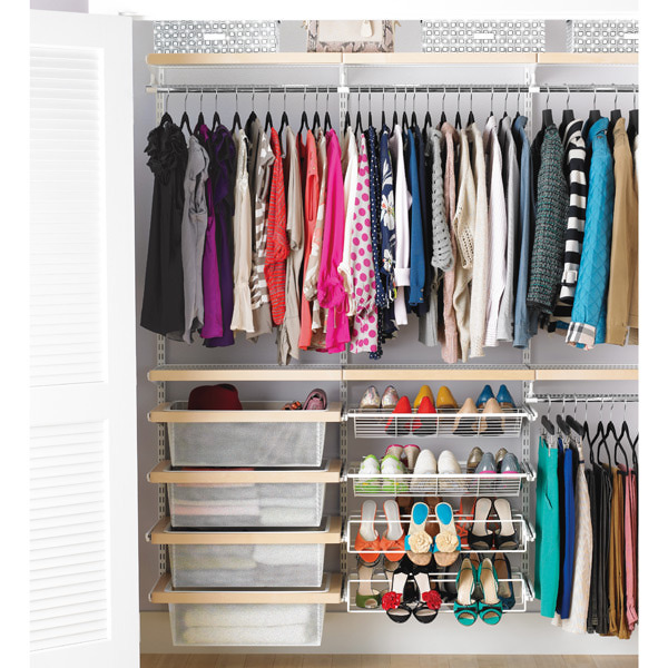 clutter-free closet by dividing clothes and items