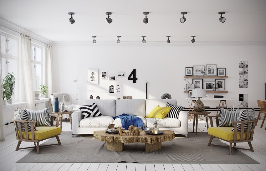 scandinavian home design subdued with accent