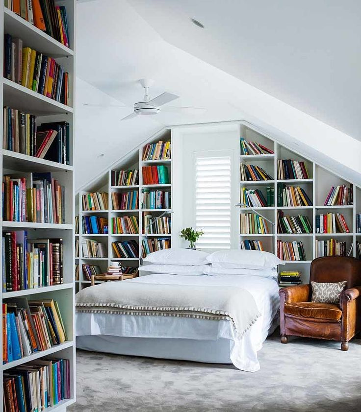 book collection in the bedroom