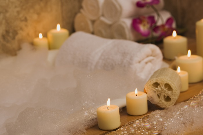 Candlelit bubble bath