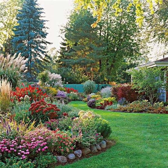backyard garden with colorful flowers