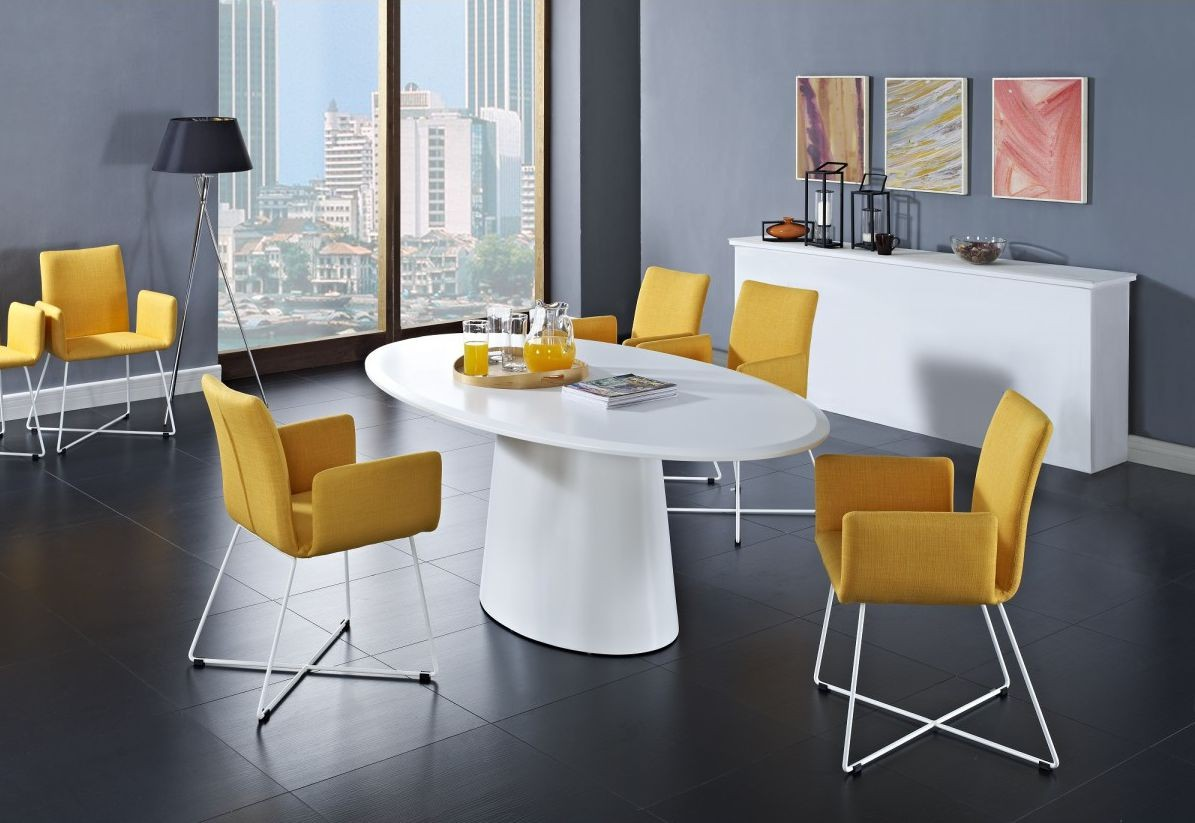modern dining room look with yellow accent color