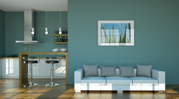 blue green colored living room