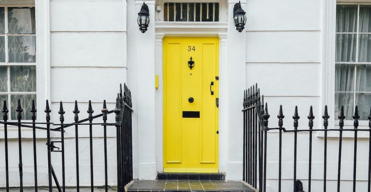 house with yellow door