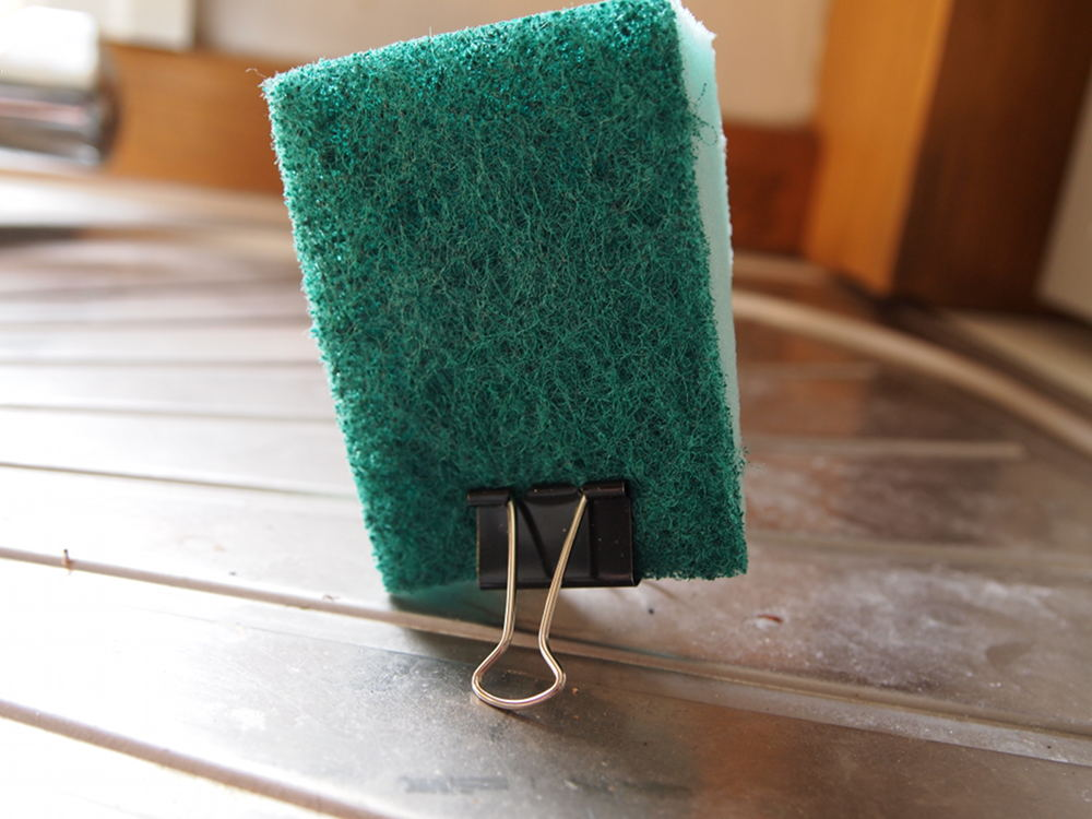 sponge clipped on paperclip