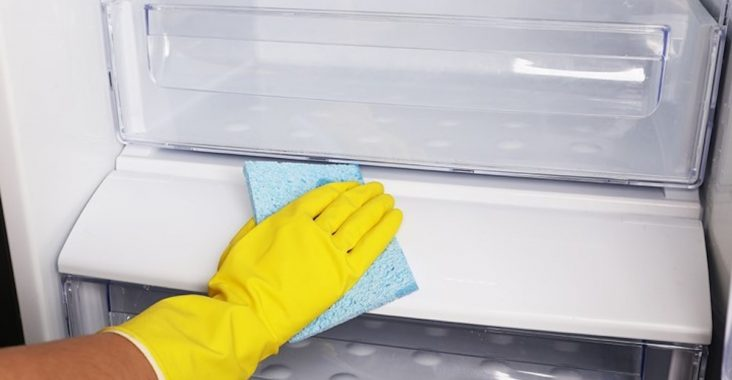 close up of wiping the insides of a fridge