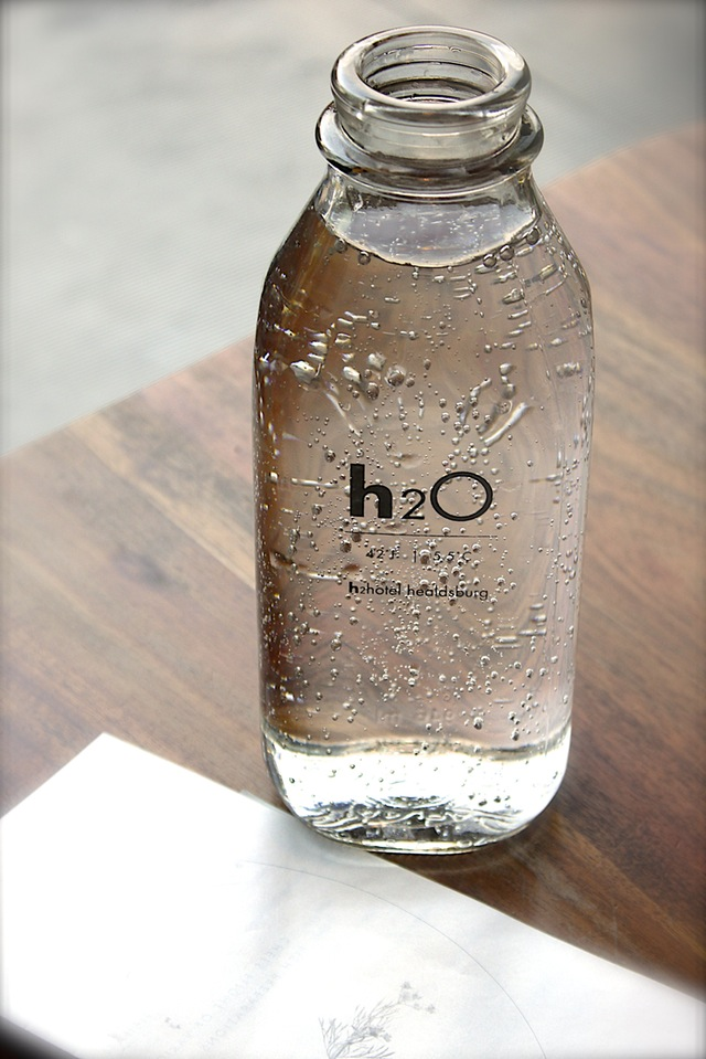 clear glass h20 bottle