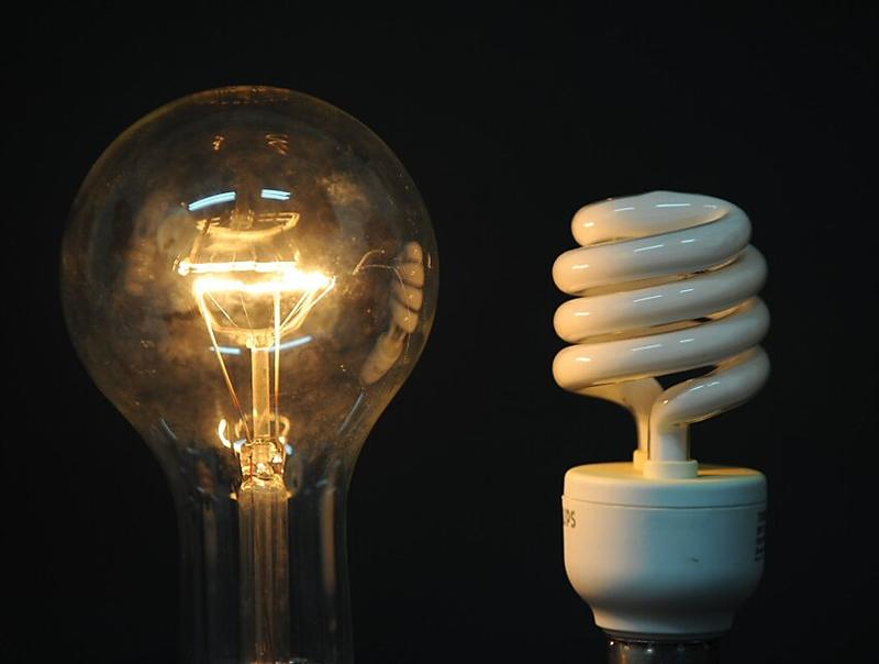 incandescent or fluorescent bulbs