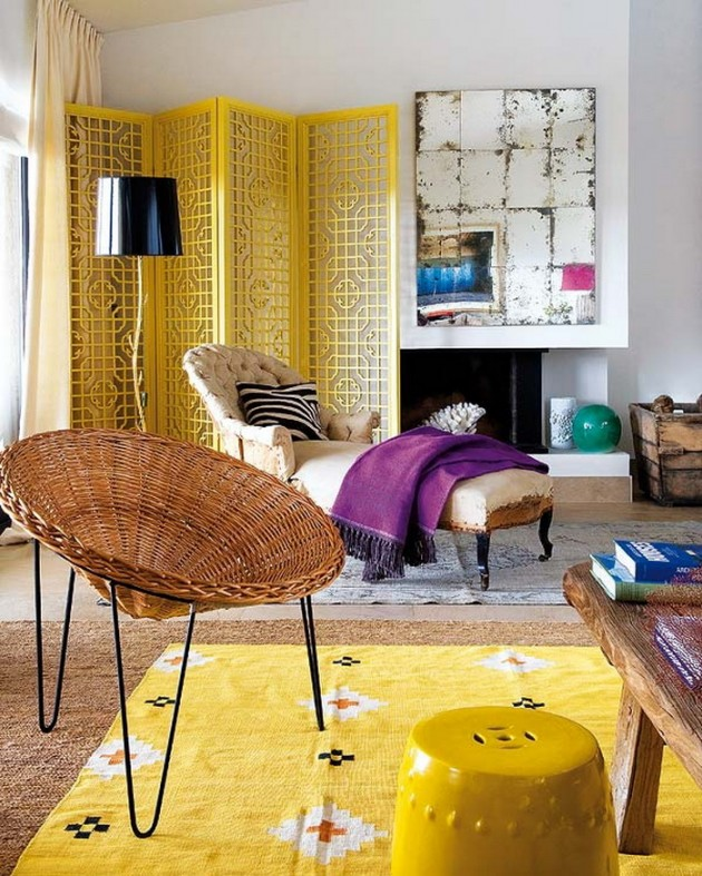 boho chic living room colorful design