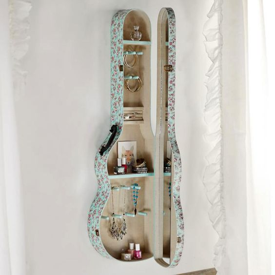 guitar case shelf - boho chic decor