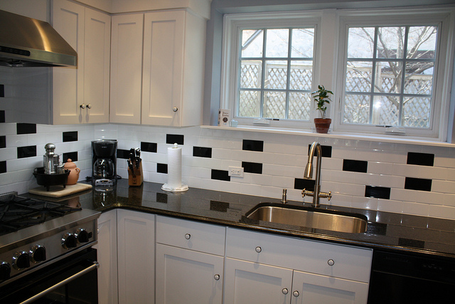 black and white subway tiles
