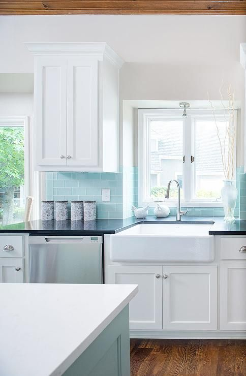 tiffany blue kitchen subway tiles