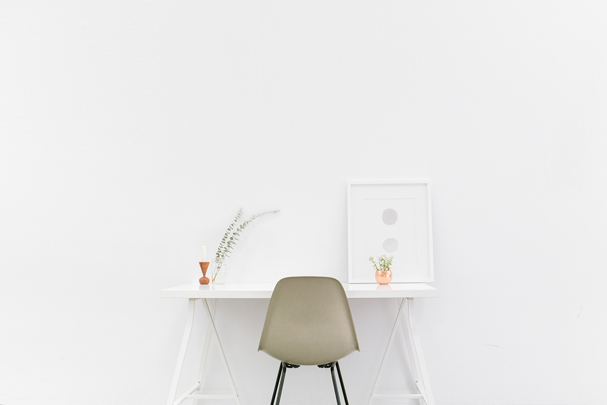 chair and desk white wall interior