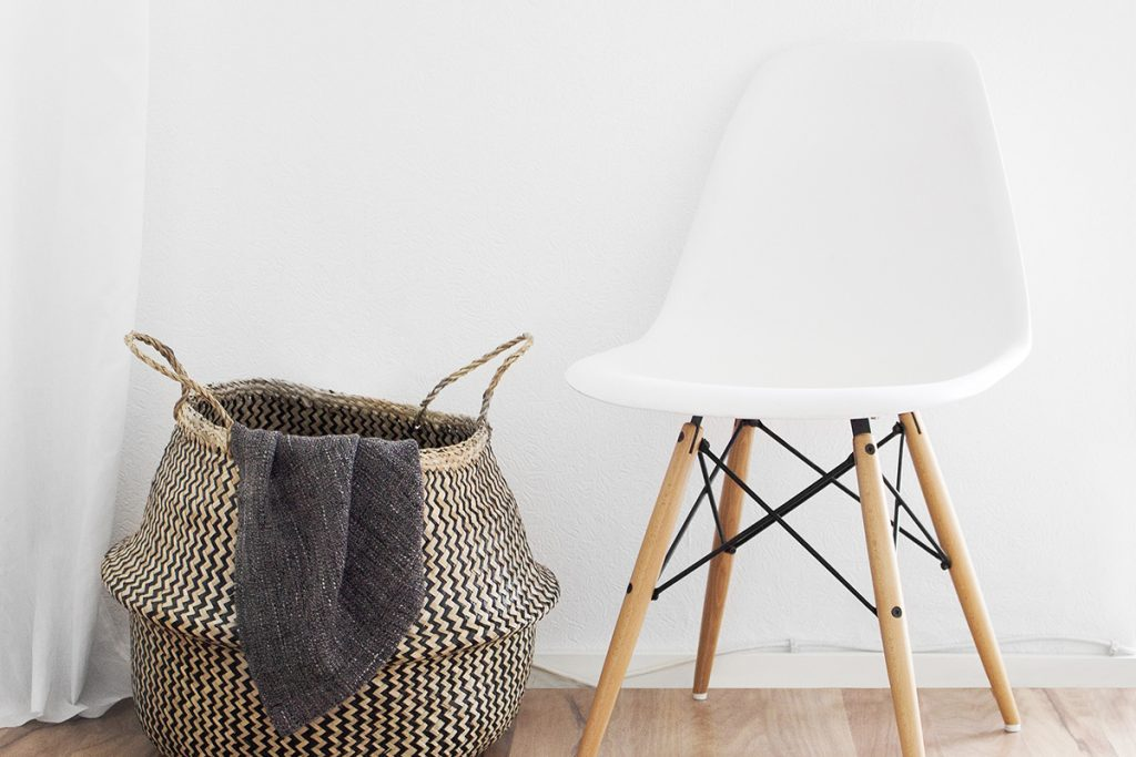 chair and basket minimalist room