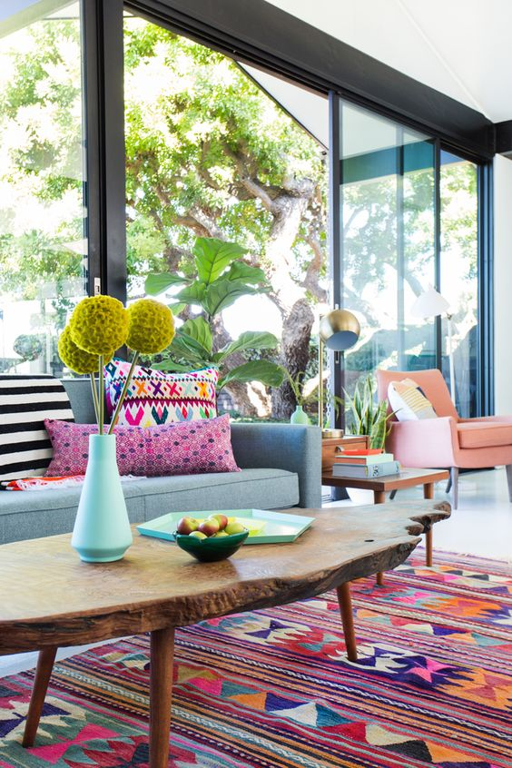 aztec rug colorful living room