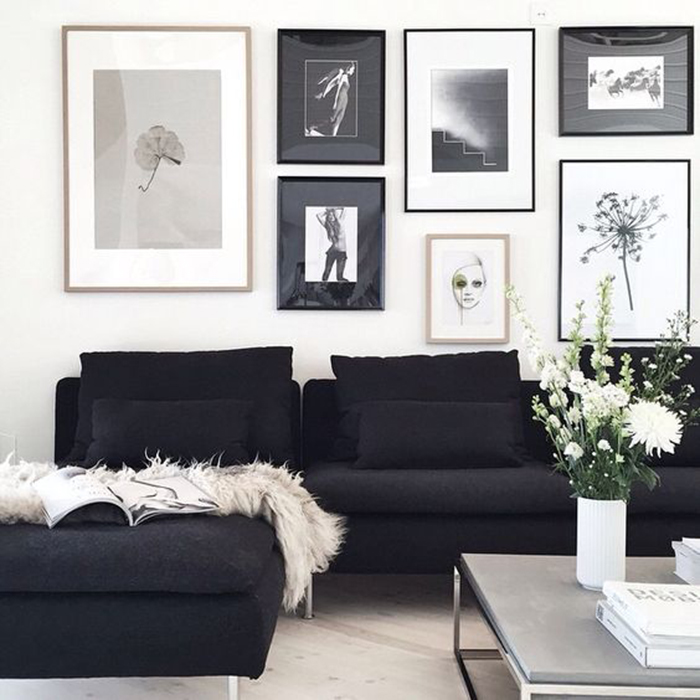 living room with pictures