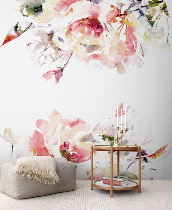 Floral watercolour wallpaper