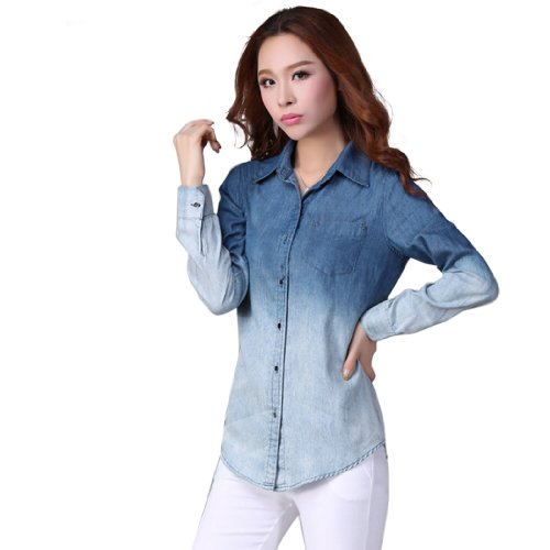 Zeagoo-Womens-Denim-Gradual-Jeans-Single-Breasted-Long-Sleeve-Shirt-Blouse-0