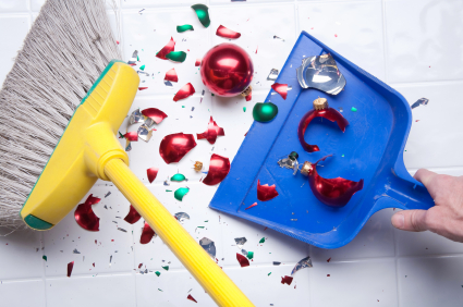 Sweeping up a broken christmas ornament