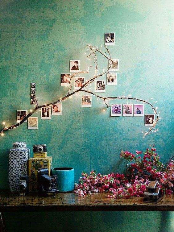 photo wall with christmas lights