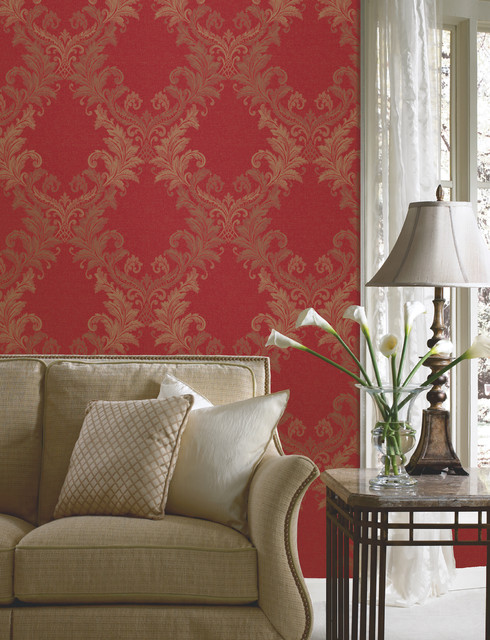 red wallpaper in living room