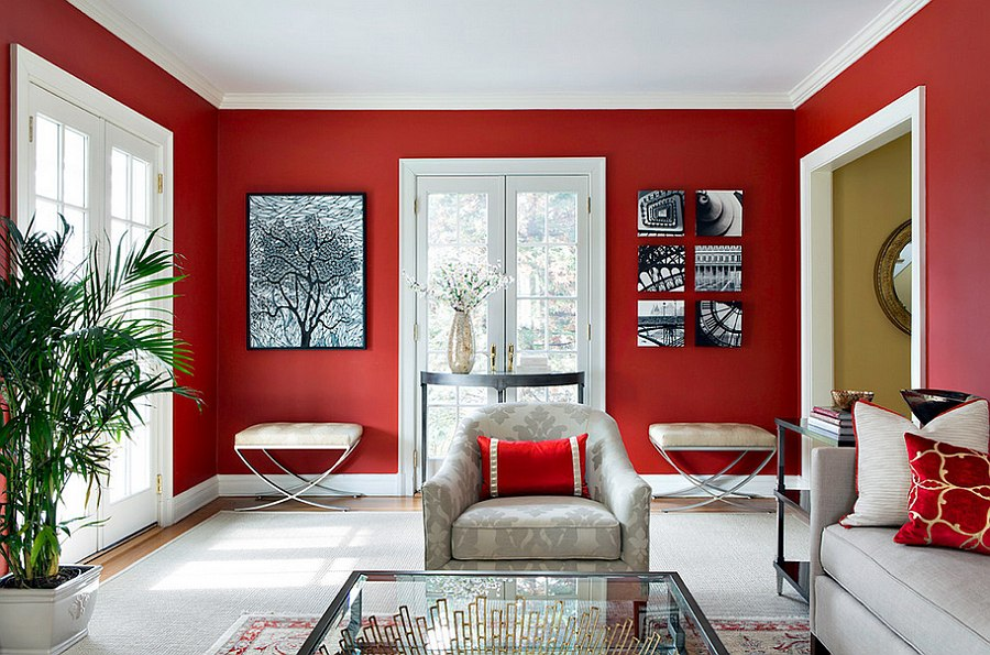 red walls with red cushion