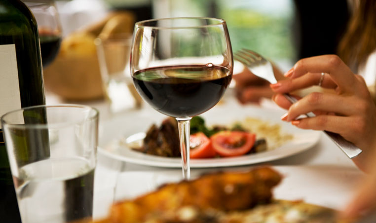 dining with wine